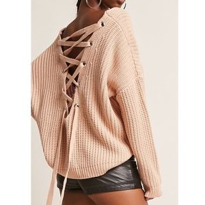 VICTORIA Lace up Back Sweater - NUDE